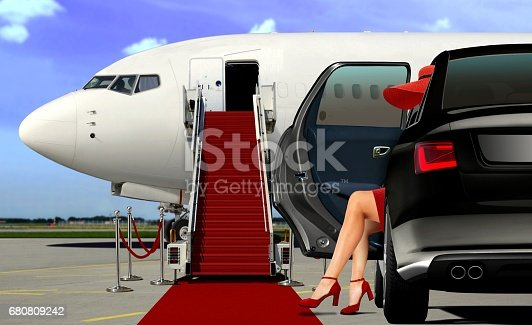 istock Limousine arrival at the airport with red carpet 680809242