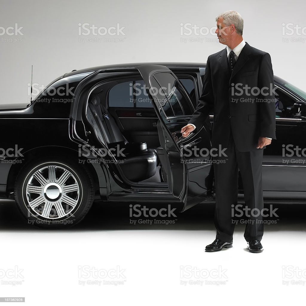 Limousine with driver stock photo