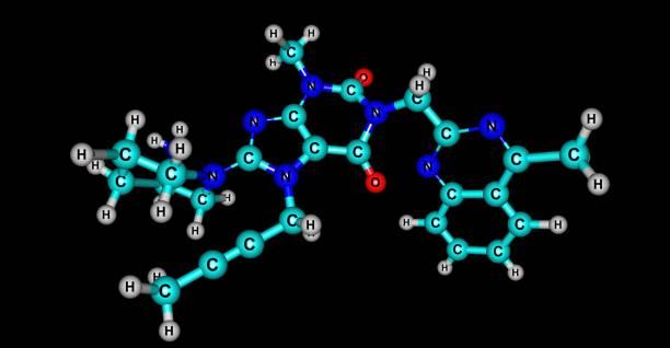 Linagliptin molecular structure isolated on black – zdjęcie