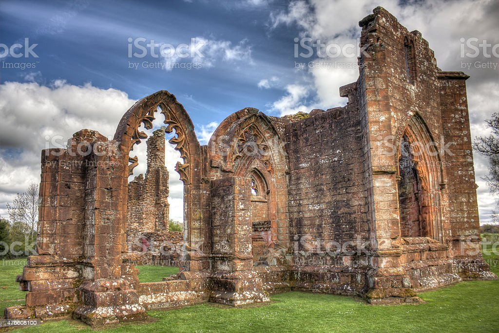 Lincluden Collegiate Church South View Sunbeams HDR stock photo