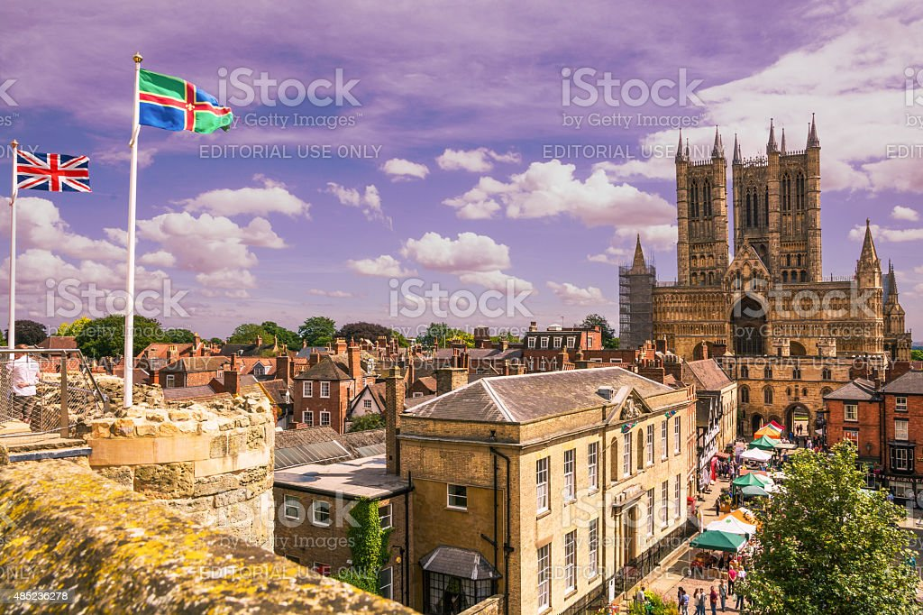 Lincoln Cathedral, view from Lincoln Castle stock photo