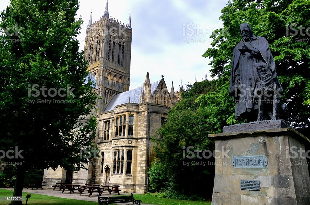 Lincoln Cathedral with  statue of Tennyson stock photo
