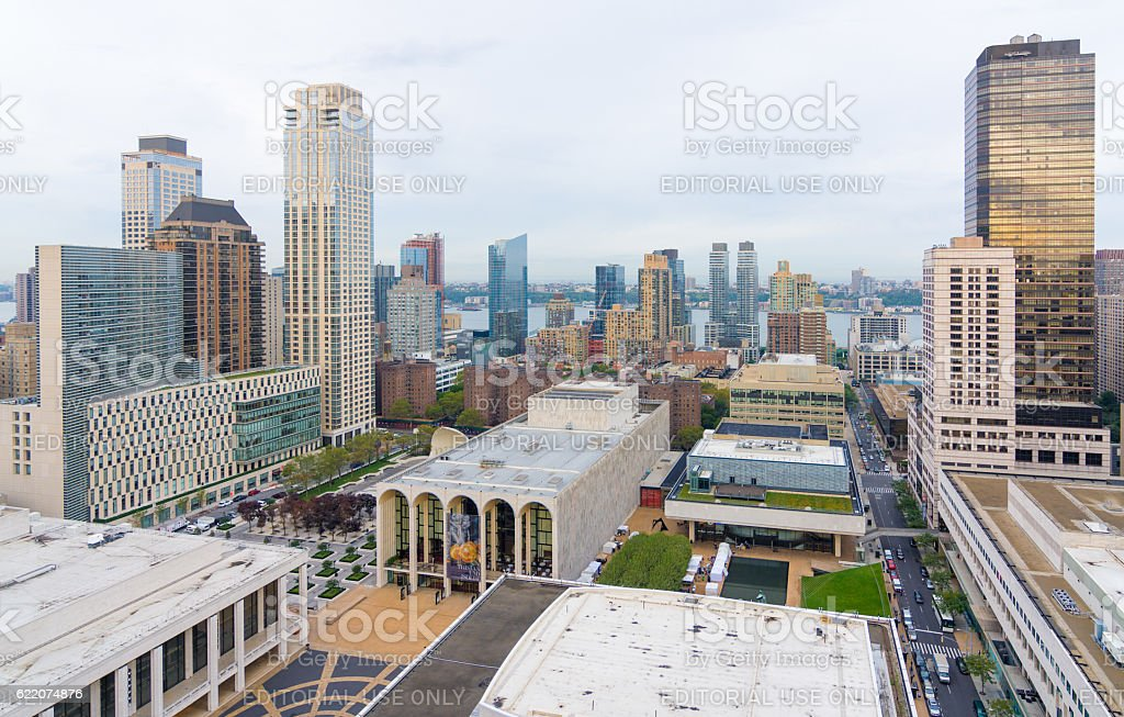 Lincoln Center and the surronding buildings from above stock photo