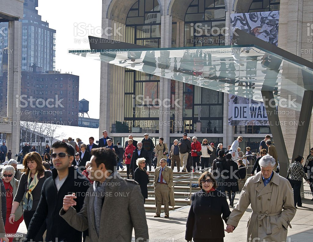 Lincoln Center crowds leave after performance, Manhattan, NYC stock photo