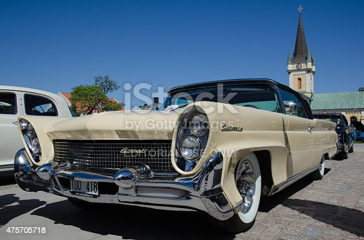 Borgholm, Sweden - May 23, 2015: Old timer car Lincoln Continental, 1958, parked and exhibited at the old timer car meeting Olands Motordag in the town of Borgholm at the island Oland in Sweden.