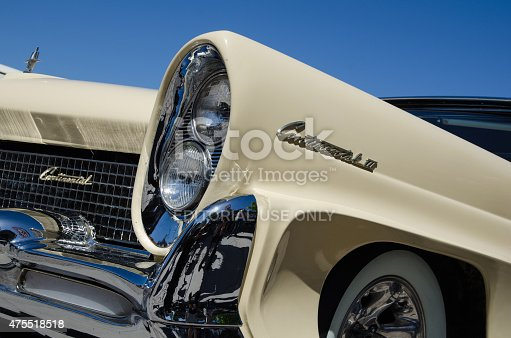 Borgholm, Sweden - May 23, 2015: Old timer car Lincoln Continental, 1958, detail of front headlight. This car was parked and exhibited at the old timer car meeting Olands Motordag in the town of Borgholm at the island Oland in Sweden.