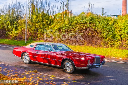 Ludwigsburg, Germany - October 20, 2019: 1976 Lincoln Continental american oldtimer car at the Retro Saisonabschluss 2019 car meeting and show.
