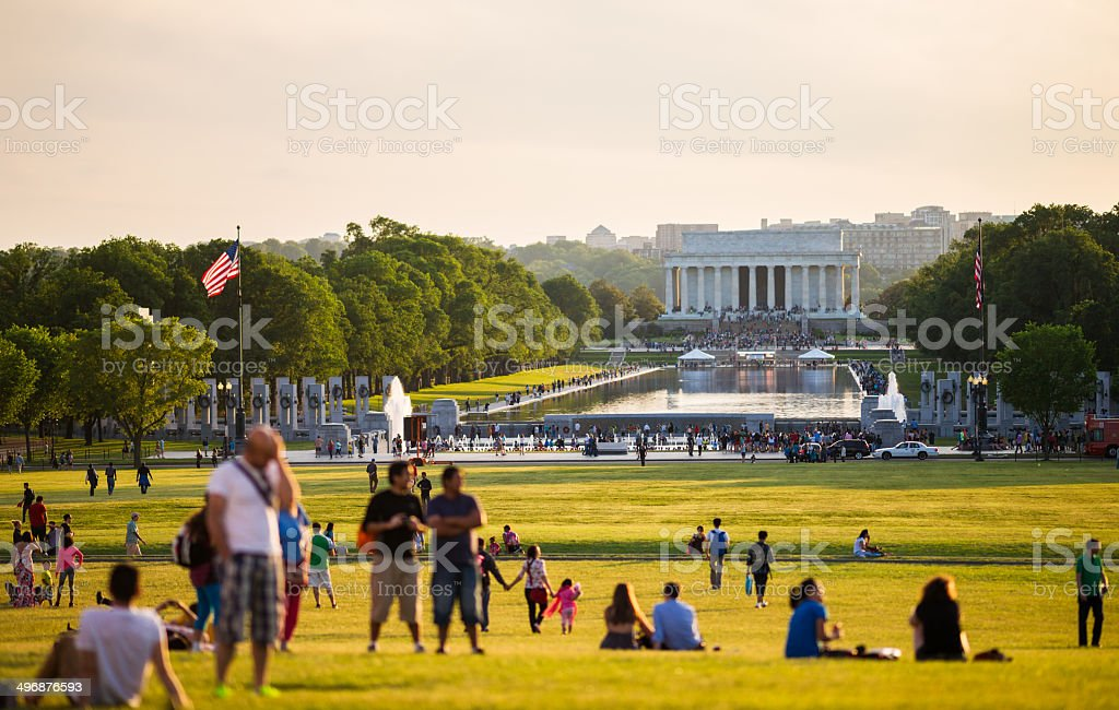 Lincoln Memorial and Reflecting Pool in Washington, D.C. stock photo