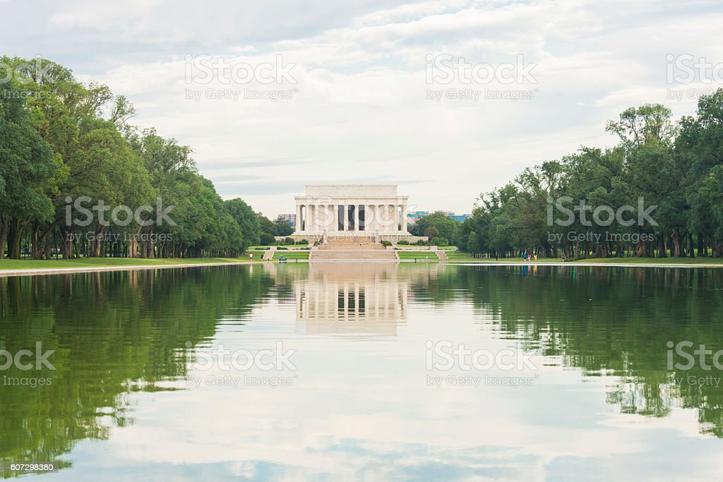 Lincoln Memorial Architecture in Reflecting Pool Washington DC Landmark USA stock photo