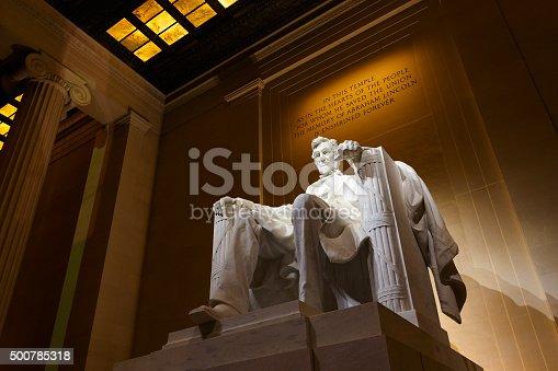 Lincoln Memorial illuminated at night in Washington DC