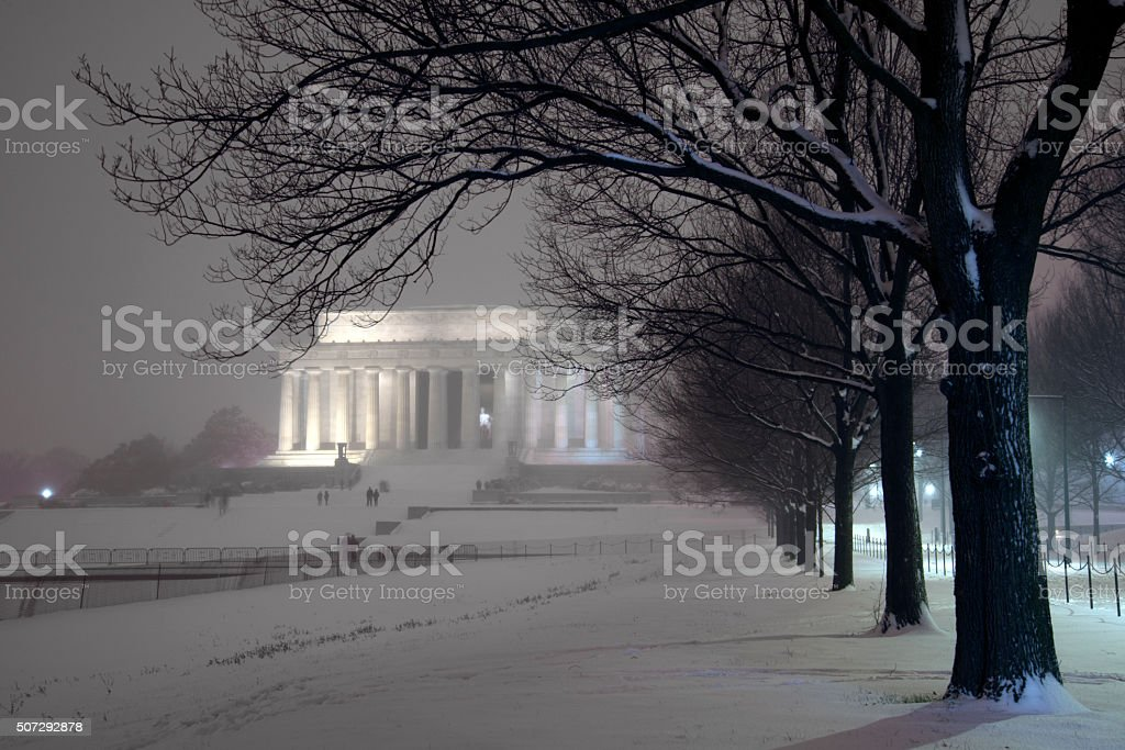 Lincoln Memorial at night stock photo
