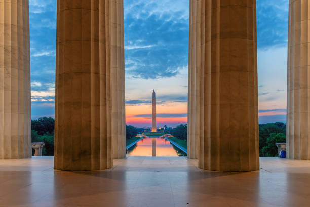 Lincoln Memorial at sunrise in Washington, D.C. stock photo