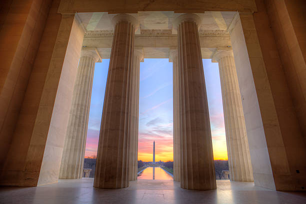 lincoln memorial at sunrise - washington stock photos and pictures
