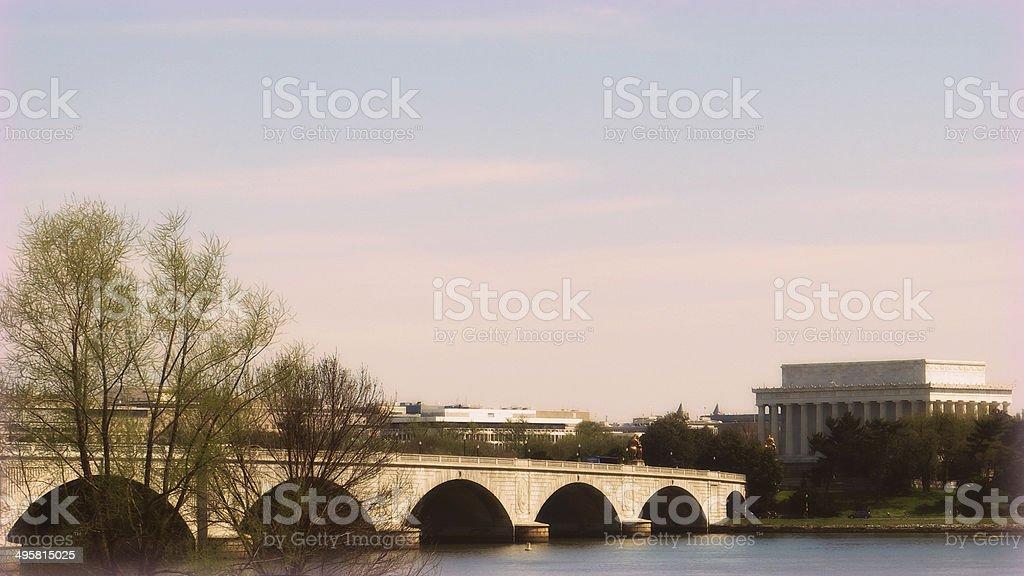 Lincoln Memorial Bridge and Lincoln Memorial, Washington DC stock photo