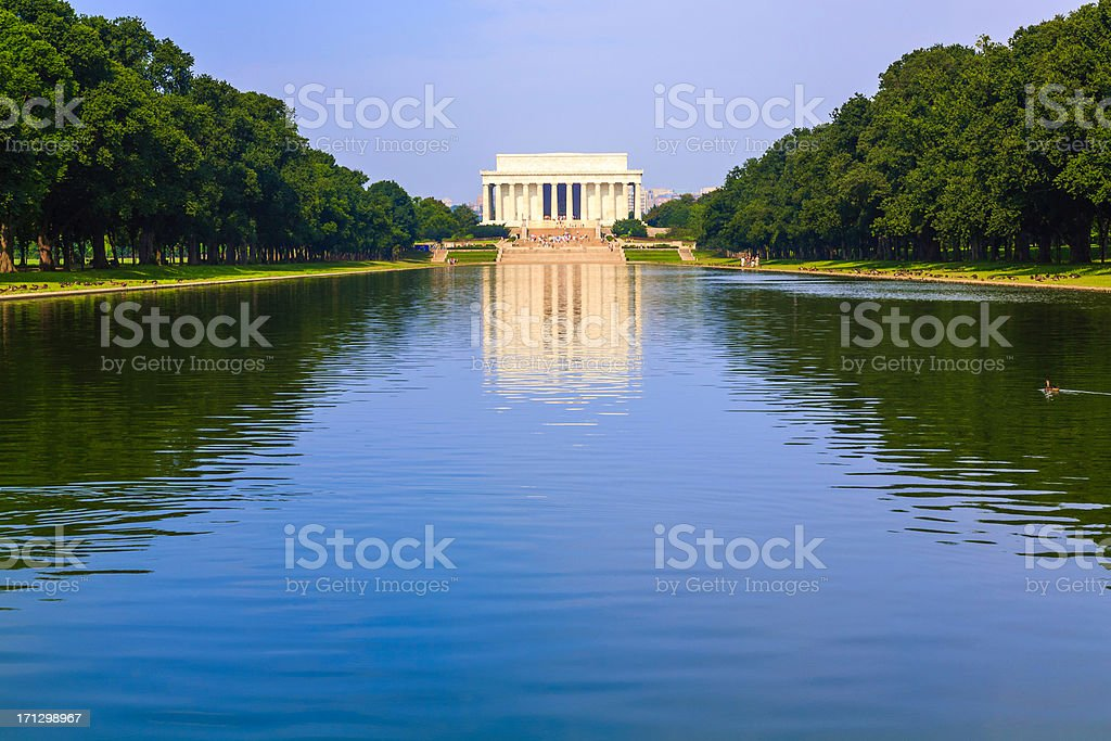 Lincoln Memorial from Reflecting Pool in Washington DC royalty-free stock photo
