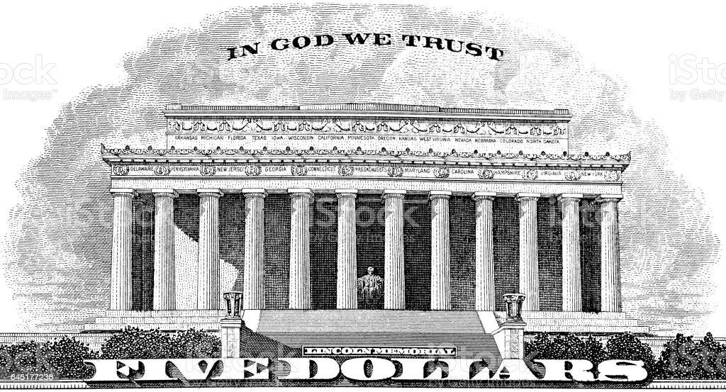 Lincoln Memorial In God We Trust stock photo