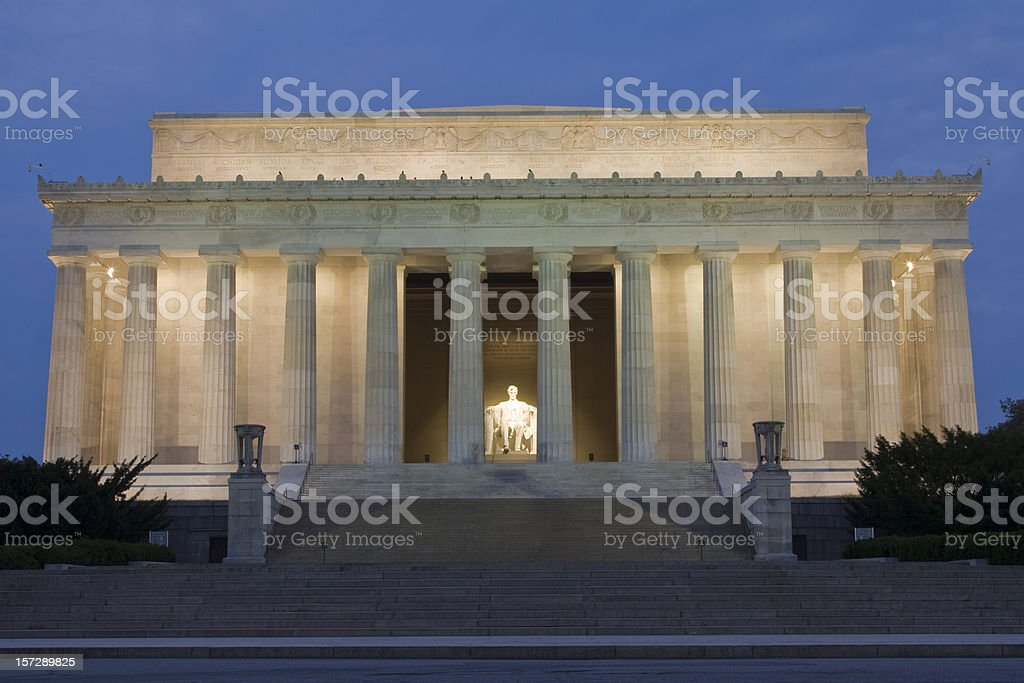 Lincoln Memorial in Washington DC at night stock photo