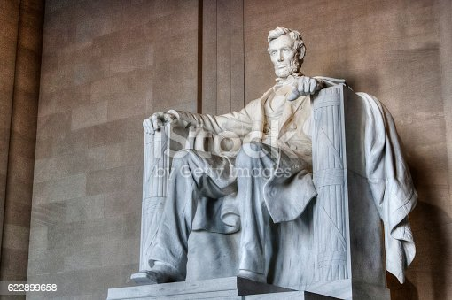 The Lincoln Memorial photographed from an angle. This memorial is located in the United States capital of Washington DC