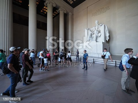 Washington D.C., USA - June 3, 2019: Image of the many tourists inside the Lincoln Memorial.