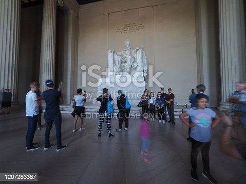 Washington D.C., USA - June 3, 2019: Long exposure image taken inside the Lincoln Memorial.