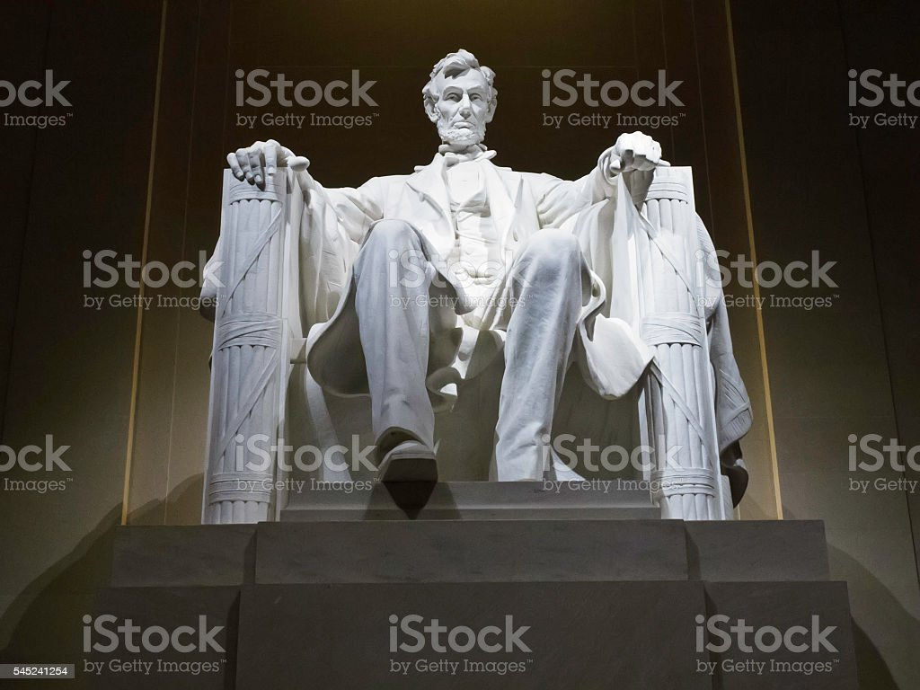 Lincoln Memorial statue at night, Washington, DC stock photo