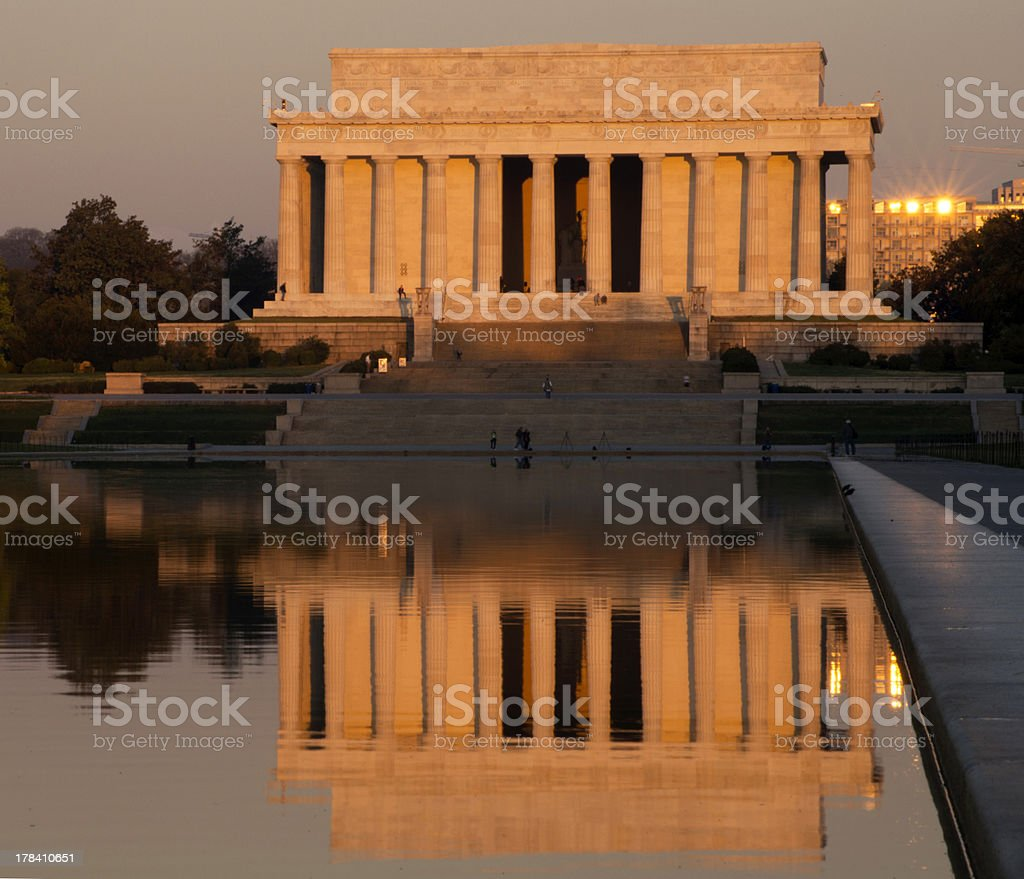 Lincoln Memorial Sunrise Reflection stock photo