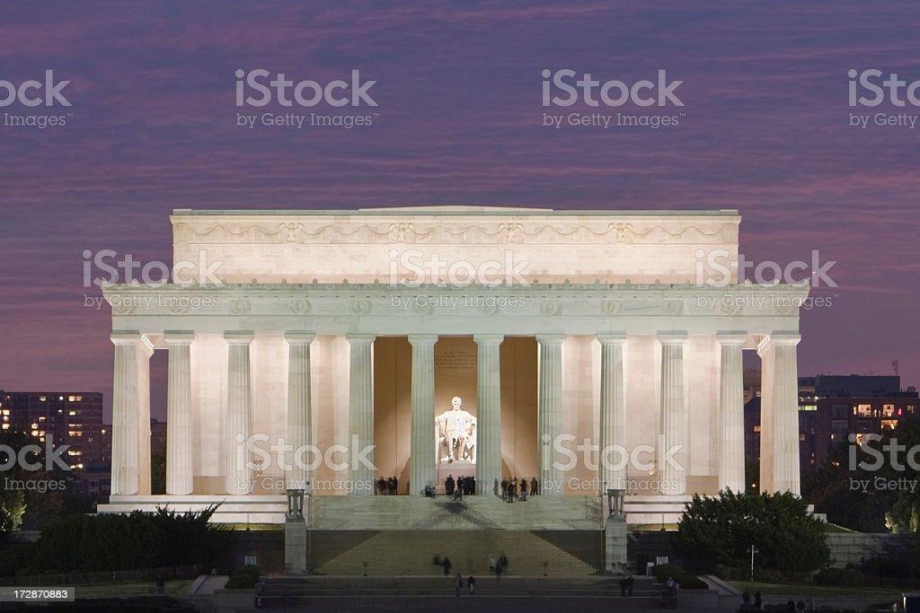 Lincoln Memorial sunset stock photo