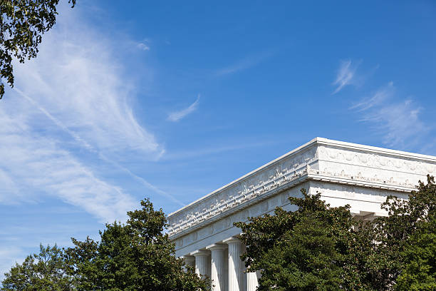 lincoln memorial through the trees - carolinemaryan stock pictures, royalty-free photos & images