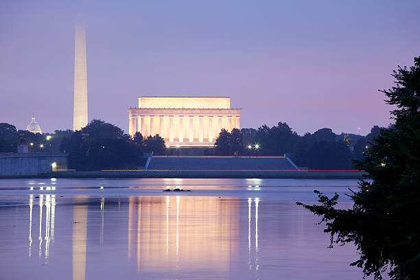Lincoln Memorial, Washington Monument and US Capitol stock photo