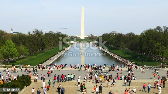 National Mall bustling with tourists on a spring day.
