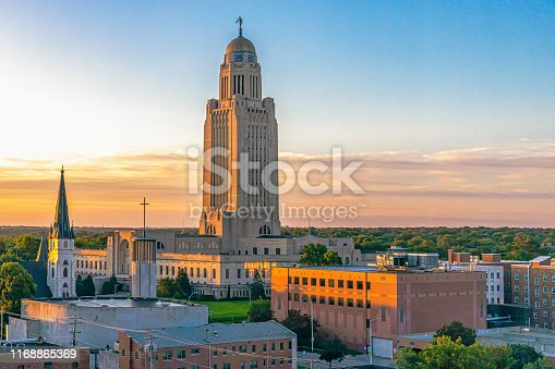 Nebraska State Capitol landscape at sunrise