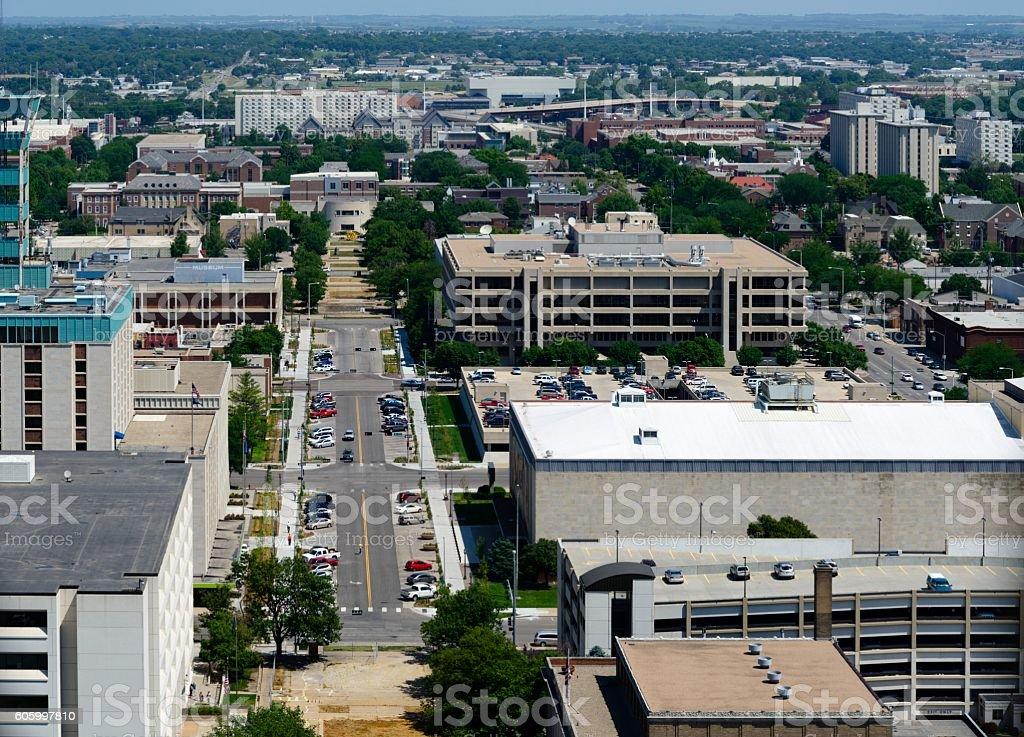 Lincoln, Nebraska Aerial View stock photo