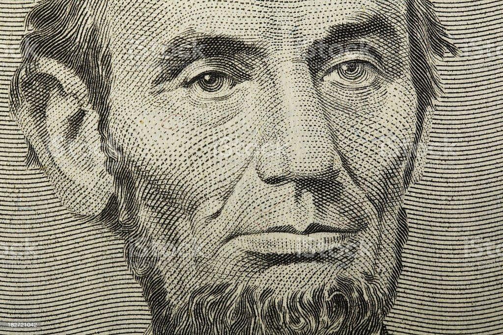 Lincoln on Dollar Bill stock photo