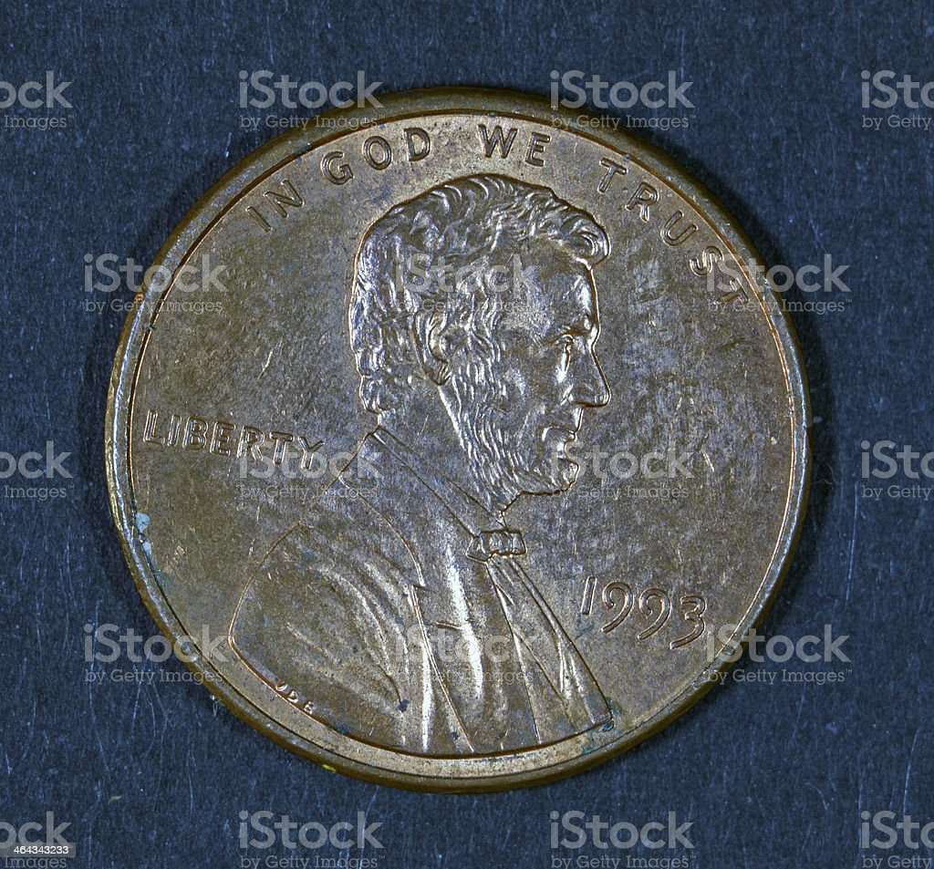 Lincoln Penny 1998 on black background stock photo