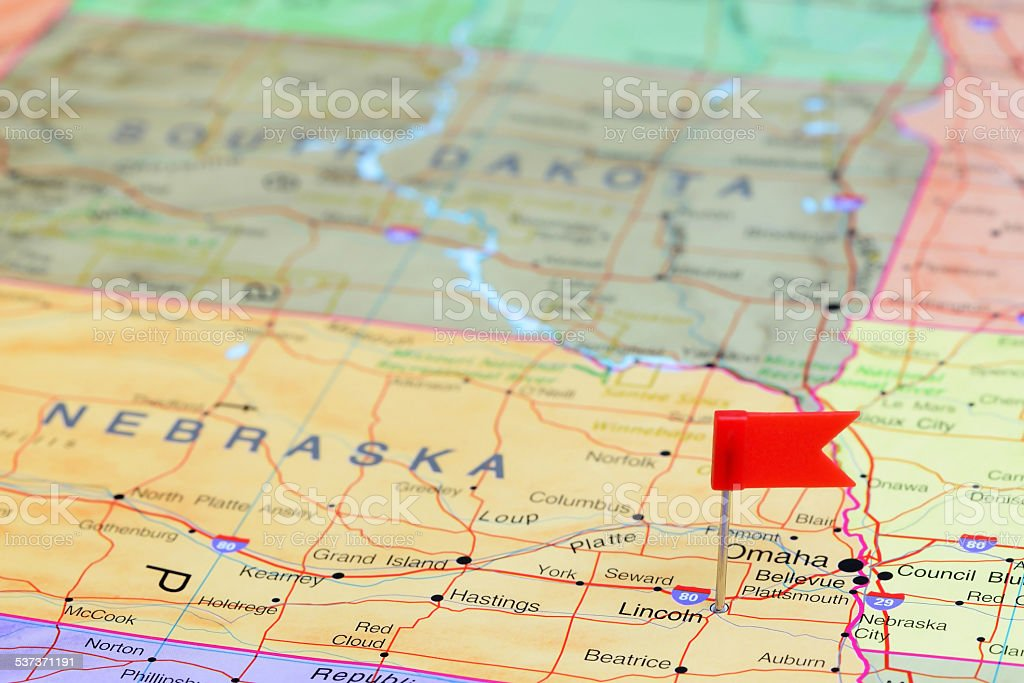 Lincoln pinned on a map of USA stock photo