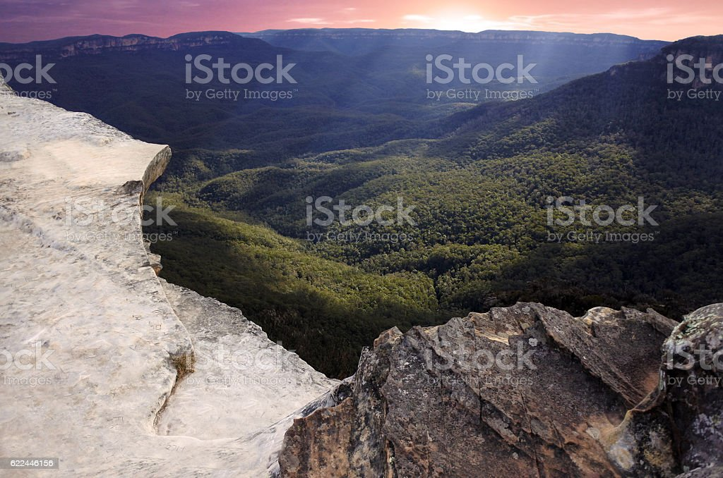Lincoln Rock Lookout at sunset in the Blue Mountains Australia stock photo