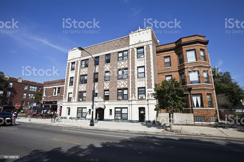 Lincoln Square Apartment Building in Chicago royalty-free stock photo