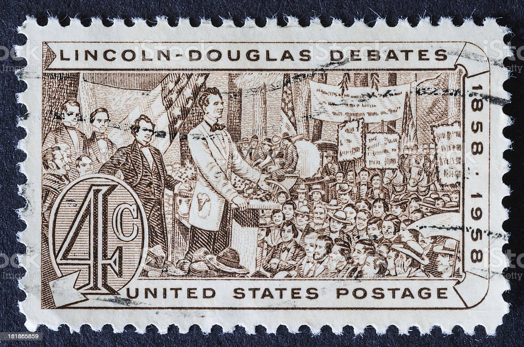 Lincoln-Douglas Debate Stamp royalty-free stock photo