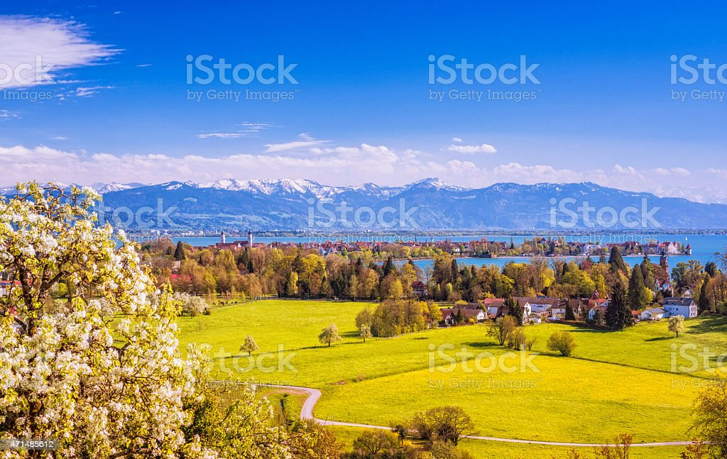 Lindau and Austrian Alps at Lake Constance (Bodensee) at spring stock photo