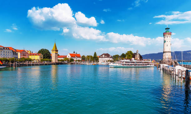 Lindau, Bodensee, Germany Scenic summer view of the Old Town pier architecture and ancient lighthouse tower in Lindau, Bodensee or Constance Lake, Germany Bodensee stock pictures, royalty-free photos & images