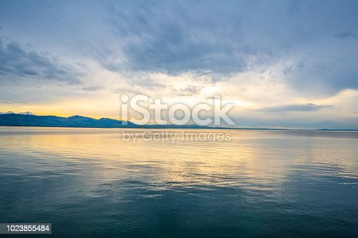Lindau, Germany - April 2, 2018: Lindau  view showing lake constance and sunset