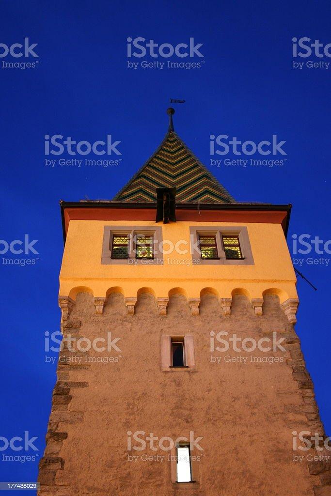 Lindau, Mangturm at night stock photo