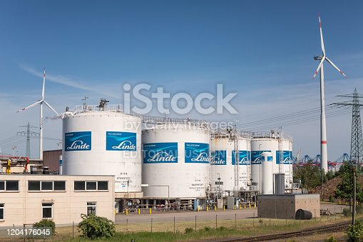 Hamburg, Germany - May 21, 2018: Linde air separation plant in the port of Hamburg.