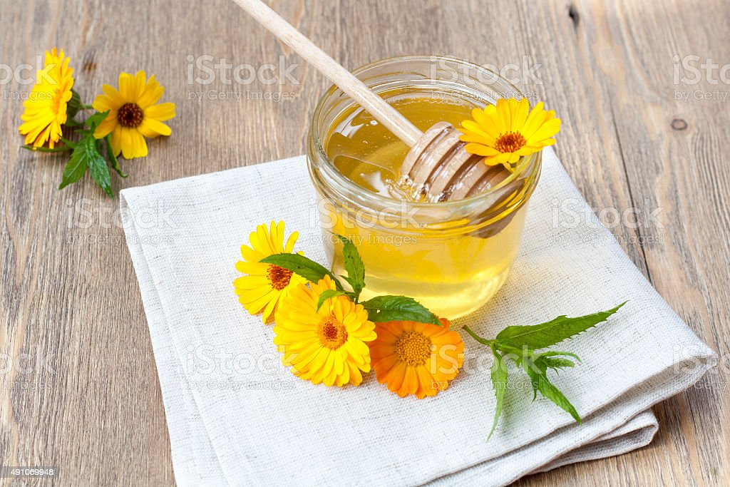 Linden honey in jar royalty-free stock photo