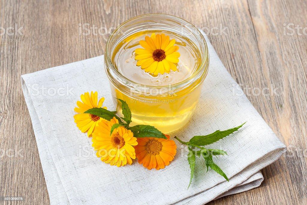 Linden honey in jar royalty-free stock photo