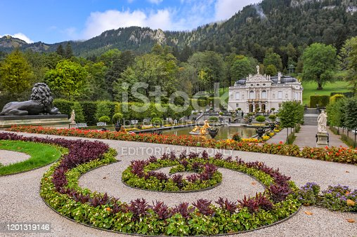 Linderhof palace in Bavaria, one of the castles of former king Ludwig II, Germany.