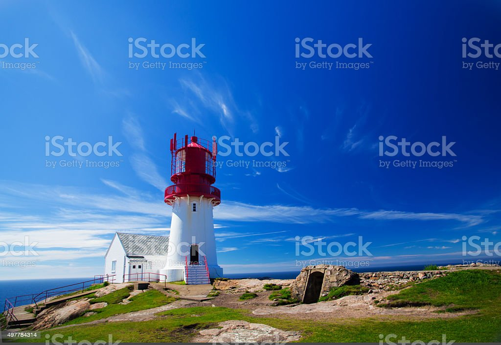 Lindesnes lighthouse stock photo