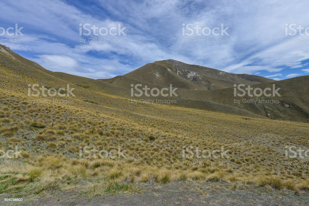 Lindis pass New Zealand stock photo