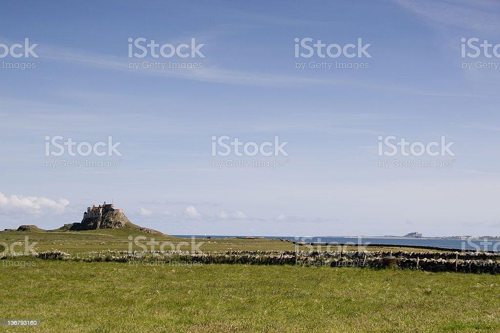 Lindisfane and Bamburgh castles royalty-free stock photo