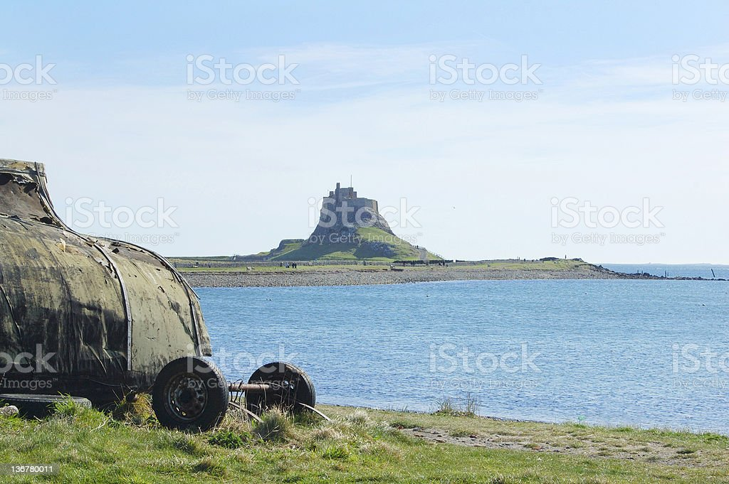 lindisfarne castle and bay royalty-free stock photo